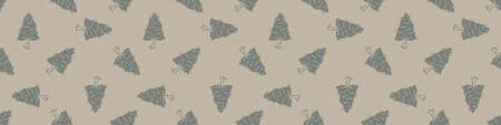 Hand carved tree block print seamless border pattern. Rustic naive folk motif illustration banner. Modern simple heritage style natural lino cut illustration. Ethnic primitive edge bordure trim. Vetores