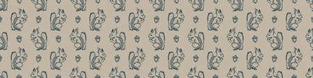 Hand carved squirrel block print seamless border pattern. Rustic naive folk motif illustration banner. Modern simple heritage style natural lino cut illustration. Ethnic primitive edge bordure trim.