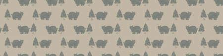 Hand carved bear block print seamless border pattern. Rustic naive folk motif illustration banner. Modern simple heritage style natural lino cut illustration. Ethnic primitive edge bordure.