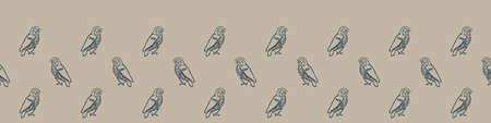 Hand carved owl block print seamless border pattern. Rustic naive folk motif illustration banner. Modern simple heritage style natural lino cut illustration. Ethnic primitive edge bordure.