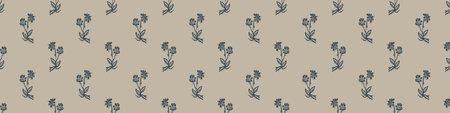 Hand carved flower block print seamless border pattern. Rustic naive folk motif illustration banner. Modern simple heritage style natural lino cut illustration. Ethnic primitive edge bordure.