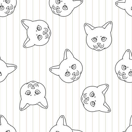 Cute cartoon monochrome British shorthair kitten face seamless vector pattern. Pedigree lineart kitty breed domestic kitty background. Cat lover English purebred all over print.