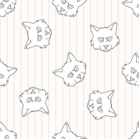 Cute cartoon monochrome lineart Ragdoll pet kitten face seamless vector pattern. Pedigree kitty breed domestic kitten background. Cat lover purebred all over print.