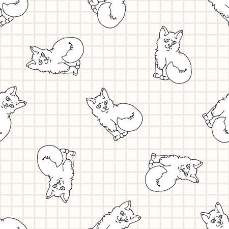 Cute cartoon monochrome lineart Ragdoll pet kitten seamless vector pattern. Pedigree kitty breed domestic kitten background. Cat lover purebred all over print. 矢量图像