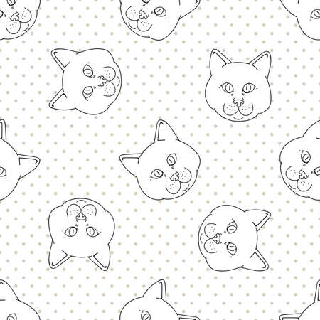 Cute cartoon monochrome British shorthair cat face seamless vector pattern. Pedigree lineart kitty breed domestic kitty background.