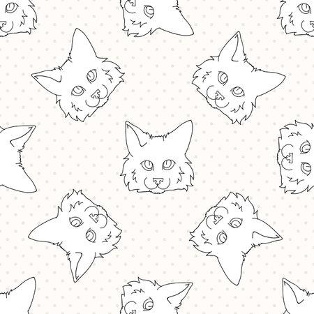 Cute cartoon monochrome lineart Ragdoll pet cat face seamless vector pattern. Pedigree kitty breed domestic kitten background.