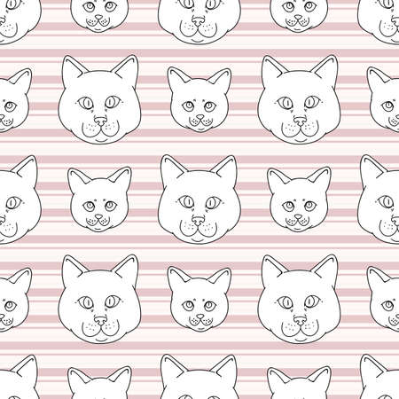 Cute cartoon monochrome British shorthair cat and kitten face seamless vector pattern. Pedigree lineart kitty breed domestic kitty background. Cat lover English purebred all over print.