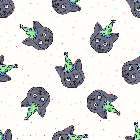 Cute cartoon British shorthair kitten face with party hat seamless vector pattern. Pedigree kitty breed domestic celebration background.