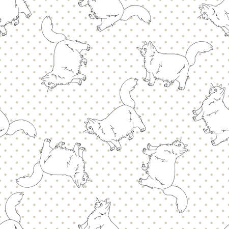 Cute cartoon monochrome lineart Ragdoll pet cat seamless vector pattern. Pedigree kitty breed domestic kitten background. Cat lover purebred all over print.