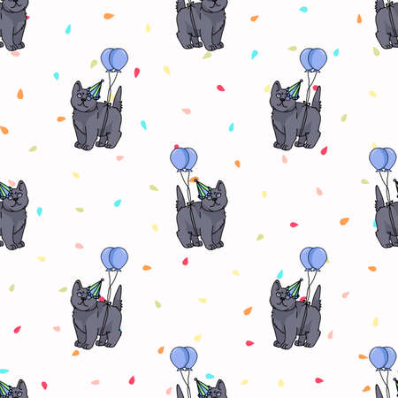 Cute cartoon British shorthair kitten with party hat seamless vector pattern. Pedigree kitty breed domestic celebration background. Cat lover English purebred all over print. 矢量图像