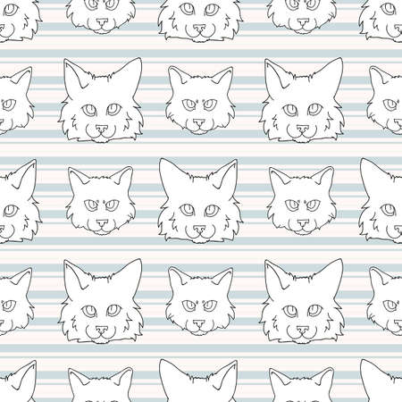 Cute cartoon monochrome lineart Ragdoll pet cat and kitten face seamless vector pattern. Pedigree kitty breed domestic kitten background. Cat lover purebred all over print.