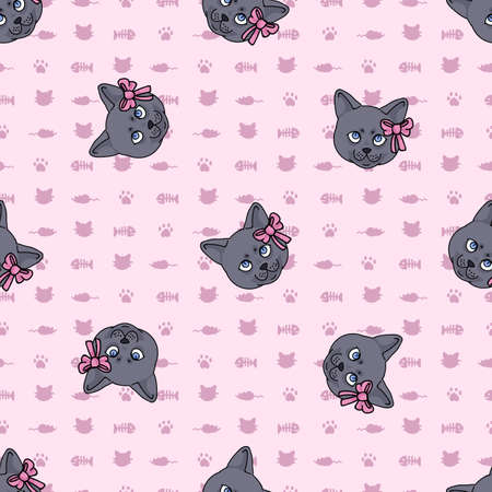 Cute cartoon British shorthair kitten face with pink bow seamless vector pattern. Pedigree breed domestic kitty background. Cat lover English purebred all over print.