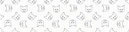 Cute cartoon monochrome British shorthair kitten face seamless vector border. Pedigree lineart kitty breed domestic kitty background. Cat lover English purebred all over print. 矢量图像