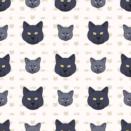 Cute cartoon British shorthair cat and kitten face seamless vector pattern. Pedigree kitty breed domestic kitty background. Cat lover English purebred all over print. 矢量图像