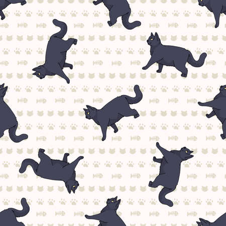 Cute cartoon British shorthair cat seamless vector pattern. Pedigree kitty breed domestic kitty background. Cat lover English purebred all over print. 矢量图像