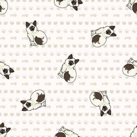 Cute cartoon Ragdoll pet kitten seamless vector pattern. Pedigree kitty breed domestic cat background. Cat lover purebred all over print. 矢量图像