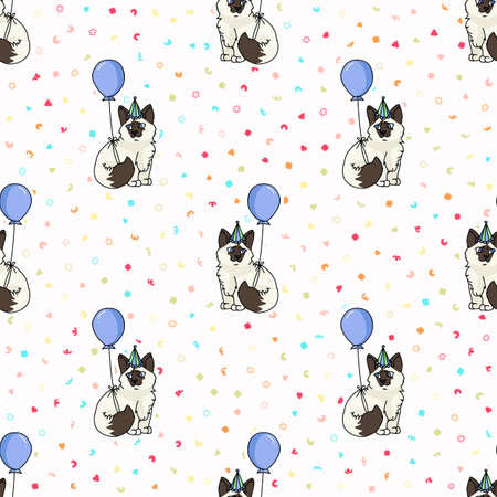 Cute cartoon Ragdoll kitten with party hat seamless vector pattern. Pedigree kitty breed domestic cat background. Cat lover celebration all over print.