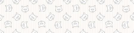 Cute cartoon monochrome Ragdoll cat face seamless vector border. Pedigree kitty breed lineart kitten background. Cat lover purebred all over print. 矢量图像