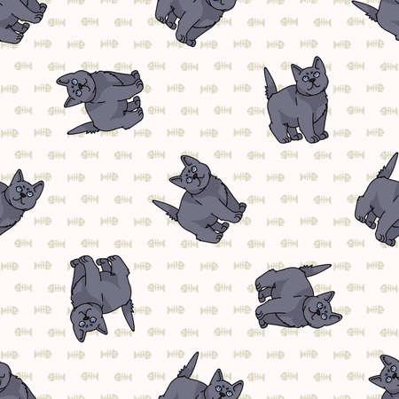 Cute cartoon British shorthair kitten seamless vector pattern. Pedigree kitty breed domestic kitty background. Cat lover English purebred all over print.