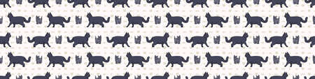 Cute cartoon British shorthair cat and kitten seamless border pattern. Pedigree kitty breed domestic kitty background. Cat lover English purebred washi ribbon.