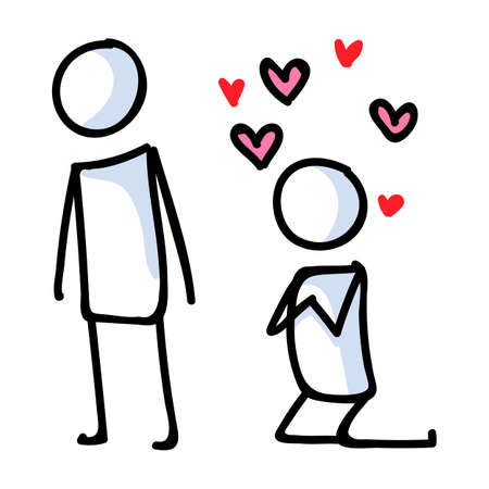 Stick figure in love lineart icon. Crush with adoration. Stick men passionate relationship valentines day illustration with love hearts. affectionate vector graphic.