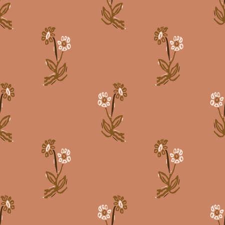 Seamless minimalist doodle floral pattern background. Calm boho earthy tone color wallpaper. Modern scandi unisex flower design. Organic childish gender neutral baby all over print. Hand drawn.