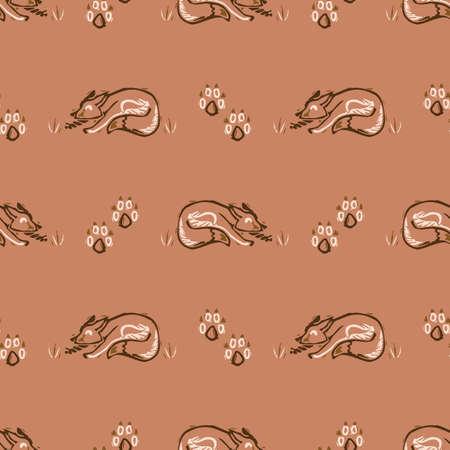Seamless minimalist doodle fox pattern background. Calm boho earthy tone color wallpaper. Modern scandi unisex flower design. Organic childish gender neutral baby all over print. Hand drawn.