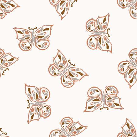 Seamless minimalist doodle butterfly pattern background. Calm boho earthy tone color wallpaper. Modern scandi unisex flower design. Organic childish gender neutral baby all over print. Hand drawn. 矢量图像