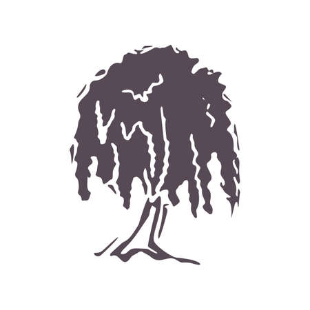 Hand carved bold block print tree icon clip art. Folk heritage illustration design element. Modern boho decorative linocut. Ethnic muted natural tones. Isolated rustic vector motif.