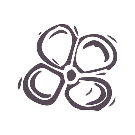 Hand carved bold block print flower icon clip art. Folk illustration design element. Modern boho decorative linocut. Ethnic muted natural tones. Isolated rustic vector motif.