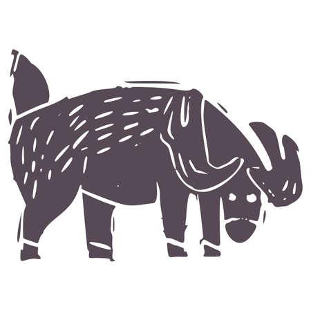 Hand carved bold block print deer icon clip art. Folk illustration design element. Modern boho decorative linocut. Ethnic muted natural tones. Isolated rustic vector motif.