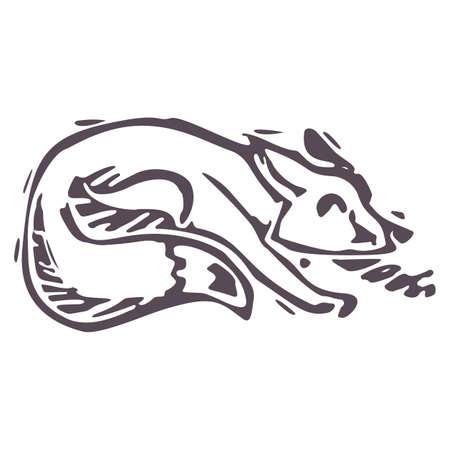 Hand carved bold block print fox icon clip art. Folk illustration design element. Modern boho decorative linocut. Ethnic muted natural tones. Isolated rustic vector motif. 矢量图像