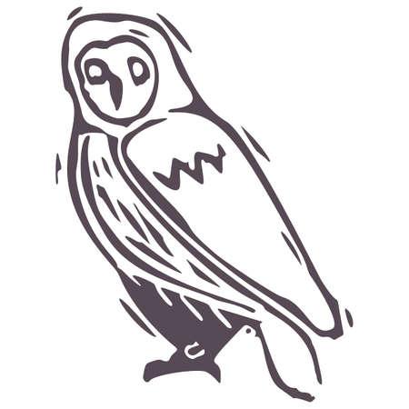 Hand carved bold block print owl icon clip art. Folk illustration design element. Modern boho decorative linocut. Ethnic muted natural tones. Isolated rustic vector motif.