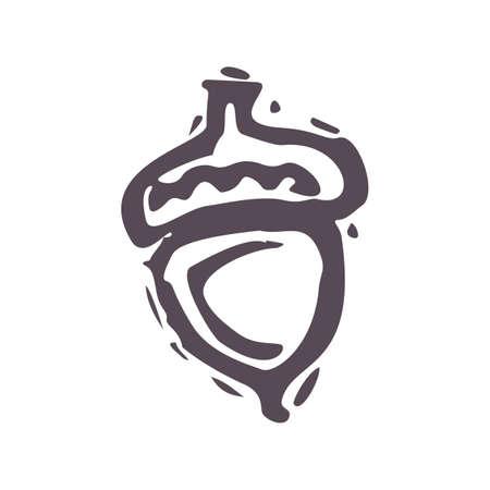 Hand carved bold block print acorn icon clip art. Folk illustration design element. Modern boho decorative linocut. Ethnic muted natural tones. Isolated rustic vector motif.