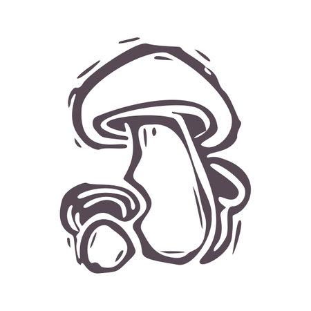 Hand carved bold block print mushroom icon clip art. Folk illustration design element. Modern boho decorative linocut. Ethnic muted natural tones. Isolated rustic vector motif. 矢量图像