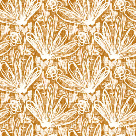 Watercolor orange flower motif background. Hand painted earthy whimsical seamless pattern. Modern floral linen textile for spring summer decor. Decorative scandi style colorful nature all over print 免版税图像