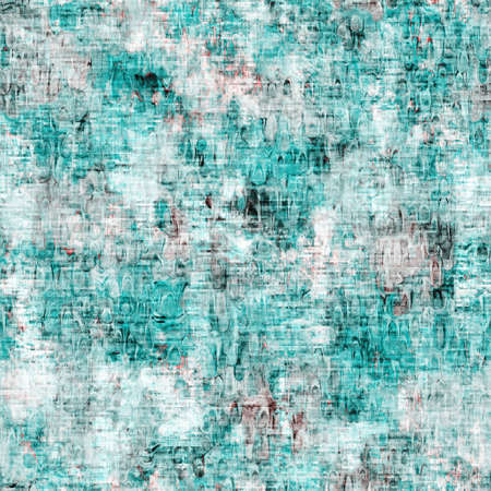 Mottled grunge blotch peeling wall pattern background. Worn aqua blue grey rustic repeat swatch. Seamless stucco plaster rough aging tile material. Decorative faded distressed blur all over print 免版税图像