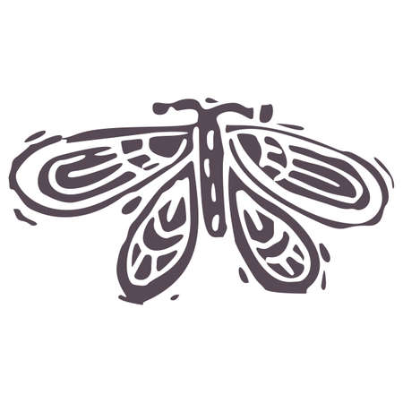 Hand carved bold block print butterfly icon clip art. Folk illustration design element. Modern boho decorative linocut. Ethnic muted natural tones. Isolated rustic vector motif.
