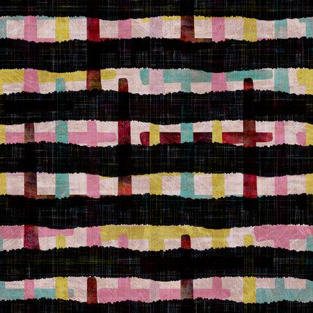 Seamless dark block print stripe background. Boho ethnic soft furnishing fabric style. Tie dye painterly decorative pattern textile. Painterly blur striped raster jpg swatch all over print.