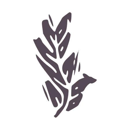 Hand carved bold block print leaf icon clip art. Folk illustration design element. Modern boho decorative linocut. Ethnic muted natural tones. Isolated rustic vector motif.