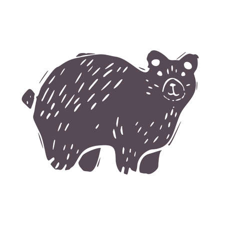 Hand carved bold block print bear icon clip art. Folk illustration design element. Modern boho decorative linocut. Ethnic muted natural tones. Isolated rustic vector motif. 矢量图像
