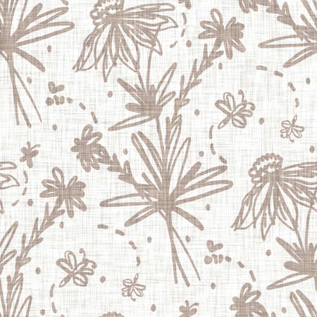 Seamless minimalist doodle flower pattern background. Calm two tone color wallpaper. Simple modern scandi unisex baby design. Organic childish gender neutral baby all over print. Hand drawn floral. 免版税图像