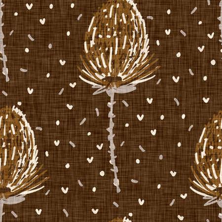 Seamless linen doodle floral pattern background. Calm boho earthy tone color wallpaper. Simple modern scandi unisex flower design. Organic childish gender neutral baby all over print. Hand drawn. 免版税图像
