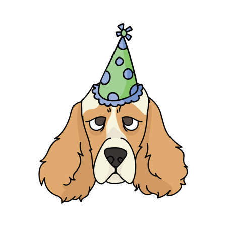 Cute cartoon cocker spaniel dog face with party hat vector clipart. Pedigree kennel dog lovers. Purebred domestic puppy for balloon illustration mascot. Isolated canine English hunting breed. Vettoriali