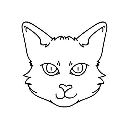 Cute cartoon monochrome Bombay kitten face lineart vector clipart. Pedigree kitty breed for cat lovers. Purebred black domestic kitten for pet parlor illustration mascot. Isolated feline..