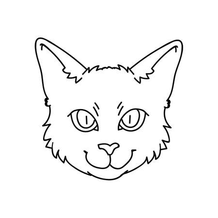 Cute cartoon monochrome Bombay cat face lineart vector clipart. Pedigree kitty breed for cat lovers. Purebred black domestic kitten for pet parlor illustration mascot. Isolated feline. Vettoriali