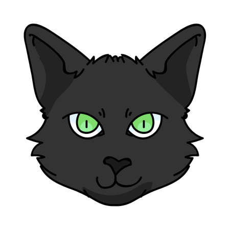 Cute cartoon Bombay cat face vector clipart. Pedigree kitty breed for cat lovers. Purebred black domestic kitten for pet parlor illustration mascot. Isolated feline housecat. Vettoriali