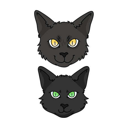 Cute cartoon Bombay kitten and cat face vector clipart. Pedigree kitty breed for cat lovers. Purebred black domestic kitten for pet parlor illustration mascot. Isolated feline housecat. Vetores
