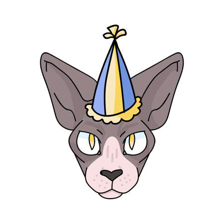 Cute cartoon sphynx cat face with party hat vector clipart. Pedigree exotic breed for cat lovers. Purebred celebration kitten for pet parlor illustration mascot. Hairless feline housecat. Vetores