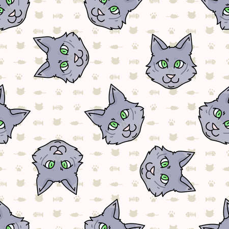 Cute cartoon munchkin kitten face seamless vector pattern. Pedigree kitty breed domestic cat background. Cat lover grey purebred all over print.